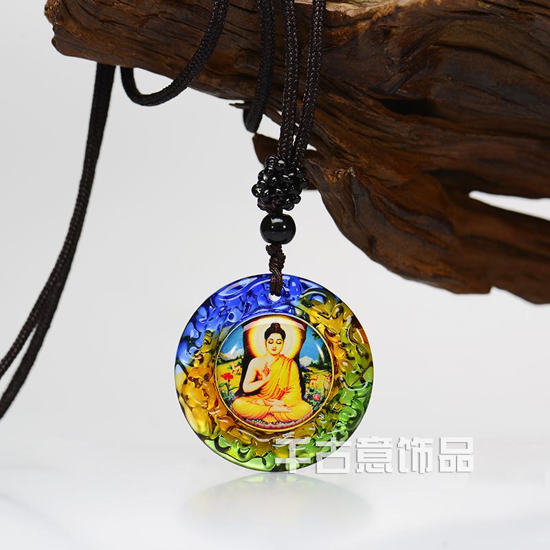 辟邪保平安释迦摩尼琉璃佛像挂件万博max手机登录 佛教结缘护身项链 定制