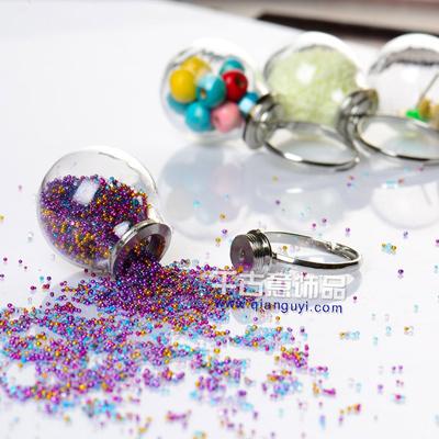 DIY手工制作材料 【可拆卸戒指】水晶玻璃球(罩)饰品