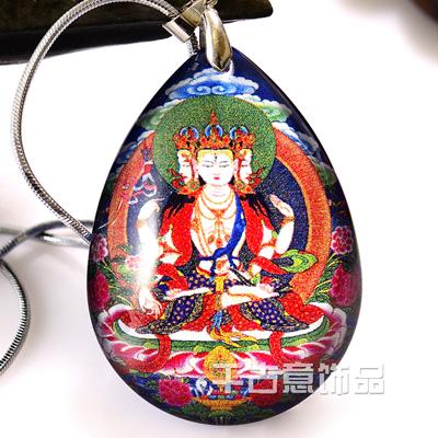 水晶唐卡内雕万博max手机登录 佛教用品饰品 密宗民族风不空羂索菩萨